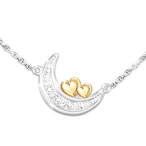 Crescent Moon Diamond Necklace For Granddaughter