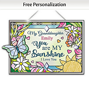 Personalized Stained-Glass Suncatcher For Granddaughters