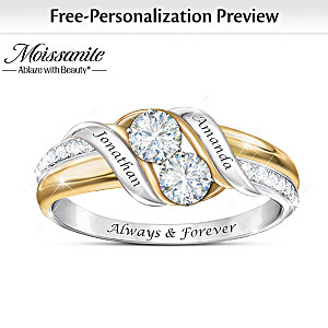 """""""Loving Embrace"""" Moissanite Ring Personalized With 2 Names"""