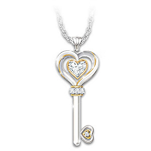 """Key To My Heart"" Topaz And Diamond Pendant Necklace"