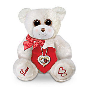 White Topaz And Garnet Pendant Necklace And Teddy Bear Set
