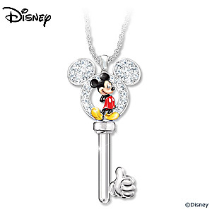 Mickey Mouse Key Necklace With Swarovski Crystal Silhouette