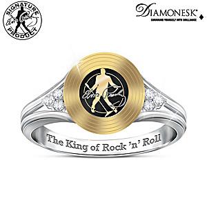 """Elvis Presley """"Gold Record"""" Diamonesk Ring"""