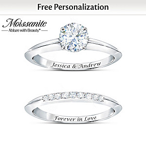 Personalized Bridal Ring Set With Over 1 Carat Of Moissanite
