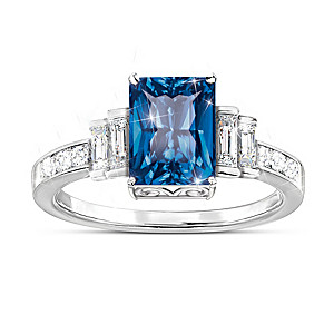 """""""Majestic Beauty"""" Blue Helenite And White Topaz Ring"""