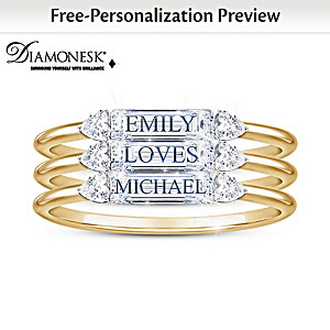 Simulated Diamond Stacking Ring Set Personalized With Names