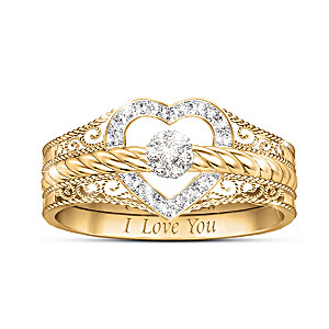 """I Love You"" 18K-Gold Plated Diamond Stacking Ring Set"