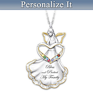 Angel Necklace With Family Birthstones And Engraved Names