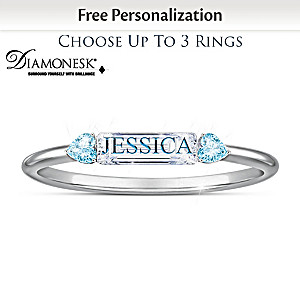 Personalized Diamonesk And Birthstone Family Stacking Rings
