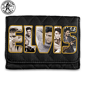 Elvis Presley Tribute Quilted RFID Blocking Tri-Fold Wallet