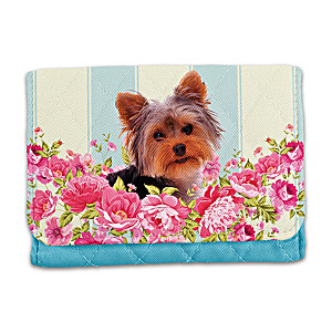 """Playful Pup"" Yorkie RFID Blocking Tri-Fold Wallet"