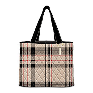 """All About Plaid"" Quilted Tote Bag With Hanging Charm"