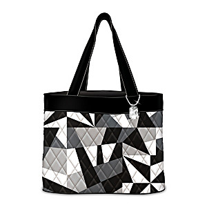 """""""Geometric Gem"""" Quilted Tote Bag With Hanging Charm"""