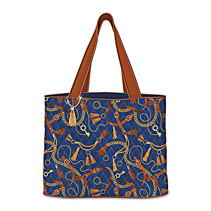 Quilted Women's Tote Bag Featuring A Gold Chain Pattern