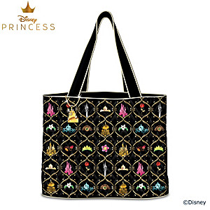 Disney Princesses Quilted Tote Bag With Golden Castle Charm