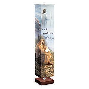 Religious Floor Lamp With 4-Sided Greg Olsen Art Shade