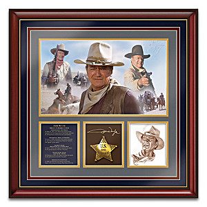 John Wayne Framed Wall Decor With Replica Signature