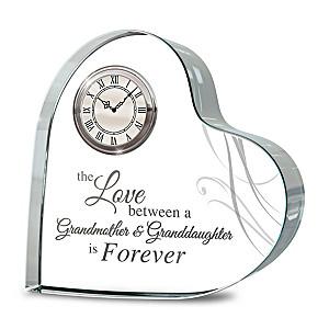 Grandmother & Granddaughter Crystal Heart Table Clock