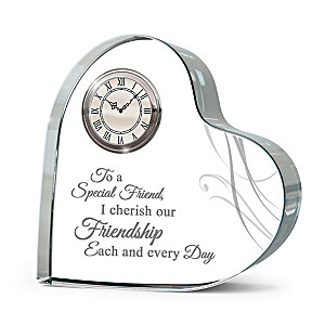 """""""Forever Loved"""" Genuine Crystal Table Clock For Friends"""