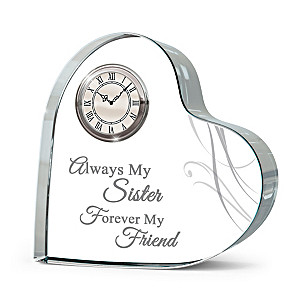 """""""Forever Loved"""" Genuine Crystal Table Clock For Sisters"""
