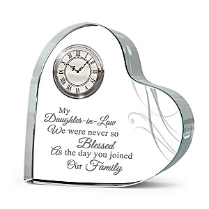 """""""Forever Loved"""" Daughter-In-Law Crystal Heart Table Clock"""