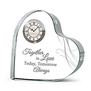 """""""Forever Loved Time With You"""" Crystal Heart Table Clock"""