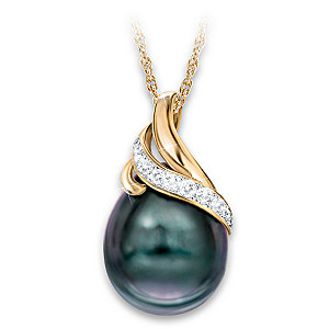 Queen Of Pearls Necklace: Cultured Tahitian Pearl & Diamonds