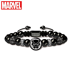 """MARVEL AVENGERS """"Wakanda Forever"""" Black Onyx Bracelet"""