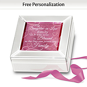 Personalized Mirrored Glass Music Box For Daughter-In-Law