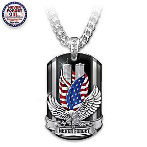 """Never Forget"" 20th Anniversary 9/11 Men's Dog Tag Necklace"