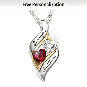 Romantic Personalized Necklace With Heart-Shaped Crystals