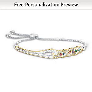 """Our Family's Strength Of Love"" Name And Birthstone Bracelet"