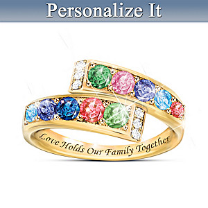 """Mother's Hug"" Personalized Engraved Birthstone Ring"