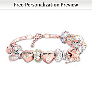 Personalized Rose Gold-Plated Birthstone Bracelet For Mom