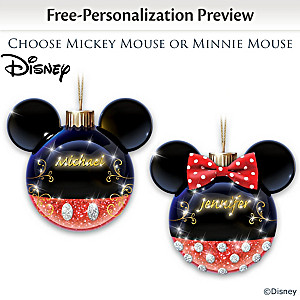 Mickey Mouse And Minnie Mouse Personalized Glass Ornaments