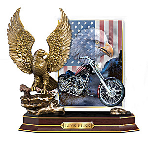 """Live Free"" Eagle Sculpture With Patriotic Biker Art Plaque"
