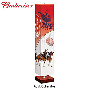 Budweiser Floor Lamp With Four-Sided Artwork Fabric Shade
