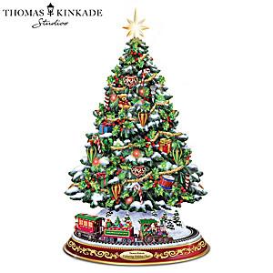 Thomas Kinkade Illuminated Tabletop Tree With Rotating Train