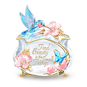 """""""Garden Treasures"""" Art Glass Music Box With 22K-Gold Accents"""