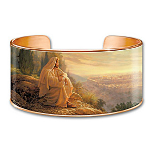 Solid Copper Cuff Bracelet With Greg Olsen Religious Art