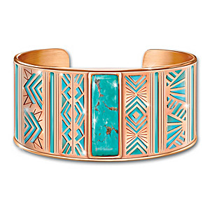 Nature's Healing Embrace Copper Cuff Bracelet With Turquoise