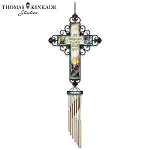 "Thomas Kinkade ""Faith"" Wind Chime With Metal Cross"