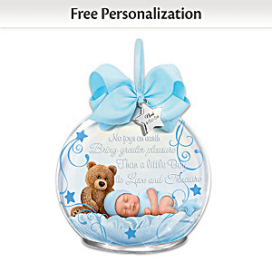 Baby Boy Glass Ornament Personalized With Name & Birthdate