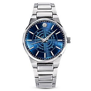 """Guiding Faith"" Diamond Watch For Son With A Compass Design"