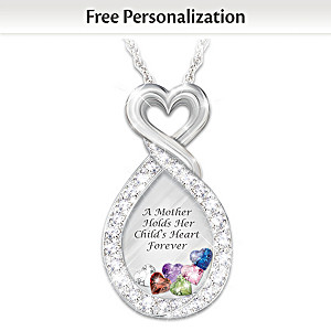 """""""A Mother's Heart"""" Birthstone Necklace With Engraved Names"""