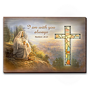 Greg Olsen Wall Decor With Illuminated Stained-Glass Cross