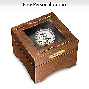 Personalized Musical Wood Box Featuring A Working Compass