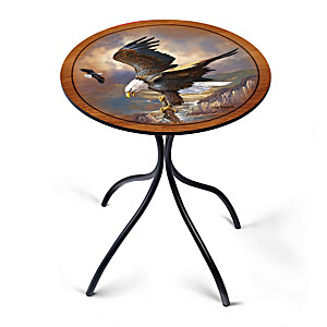 Ted Blaylock Bald Eagle Artwork Wooden Accent Table
