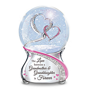 Musical Granddaughter Glitter Globe With Entwined Hearts