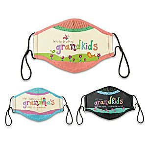"3 Lori Siebert ""Grandkids Rule"" Adult Face Masks"